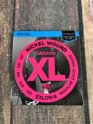 D'Addario Acoustic Guitar Strings D'Addario EXL170-5 Light 45-130 Nickel Wound 5 String Long Scale Bass Guitar Strings