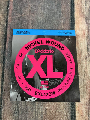 D'Addario Bass Strings D'Addario EXL170M Light 45-105 Nickel Wound 4 String Medium Scale Bass Guitar Strings