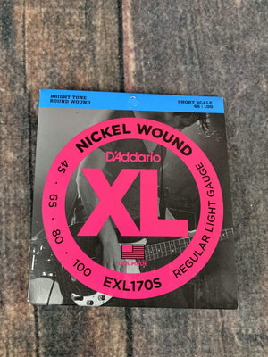D'Addario Bass Strings D'Addario EXL170S Light 45-100 Nickel Wound 4 String Short Scale Bass Guitar Strings