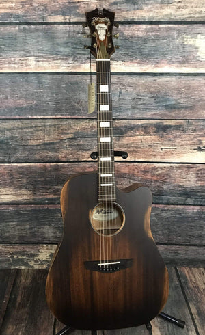 D'Angelico Acoustic Guitar D'Angelico Premier Bowery Acoustic Electric Guitar- Aged Natural Mahogany