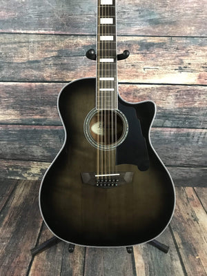D'Angelico Acoustic Guitar D'Angelico Right Handed Premier Fulton 12 String Acoustic Electric Guitar- Grey Black