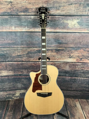 D'Angelico Acoustic Guitar Used D'Angelico Left Handed Premier Fulton 12 String Acoustic Electric Guitar