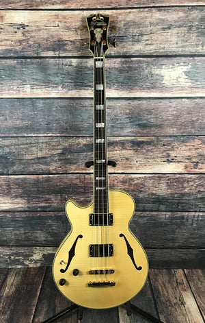 D'Angelico Electric Bass D'Angelico Left Handed Excel ArchTop Electric Bass- Natural