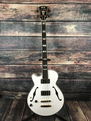 D'Angelico Electric Bass D'Angelico Left Handed Excel ArchTop Electric Bass- White