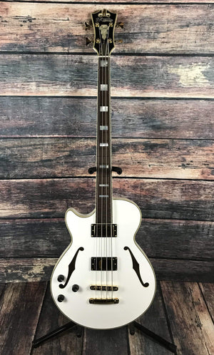 D'Angelico Electric Bass D'Angelico Left Handed Excel ArchTop Electric Bass- White 3 Knob EQ