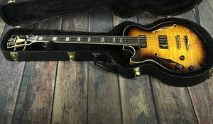 D'Angelico Left Handed Excel ArchTop Electric Bass with Case - Sunburst