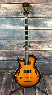 D'Angelico Electric Bass Used D'Angelico Left Handed EX-SS Semi Hollow Body Electric Bass with Hard Shell Case