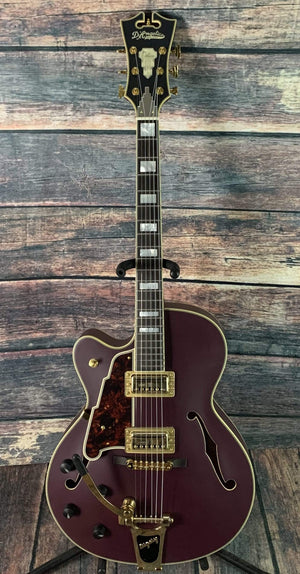 D'Angelico Electric Guitar D'Angelico Left Handed Deluxe 175 Electric Guitar- Matte Plum Purple