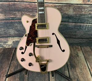 D'Angelico Left Handed Deluxe 175 Electric Guitar with Bigsby- Matte Pink
