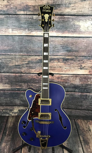 D'Angelico Electric Guitar D'Angelico Left Handed Deluxe 175 Electric Guitar- Matte Royal Blue