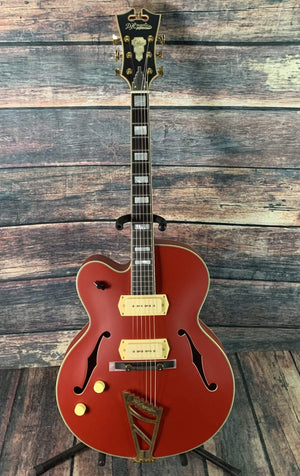D'Angelico Electric Guitar D'Angelico Left Handed Deluxe 59 Hollow Body Electric Guitar- Matte Cherry