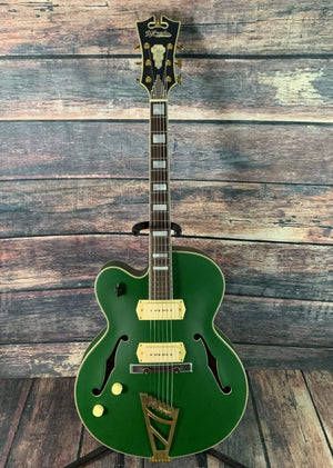 D'Angelico Electric Guitar D'Angelico Left Handed Deluxe 59 Hollow Body Electric Guitar- Matte Emerald Green