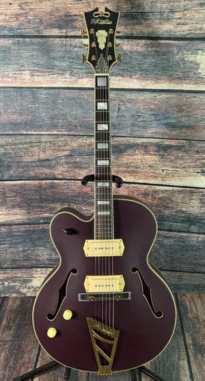 D'Angelico Electric Guitar D'Angelico Left Handed Deluxe 59 Hollow Body Electric Guitar- Matte Purple