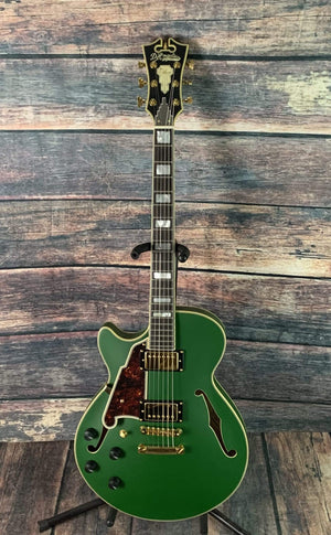 D'Angelico Electric Guitar D'Angelico Left Handed Deluxe SS Electric Guitar-Matte Emerald Green Stop Tail Piece