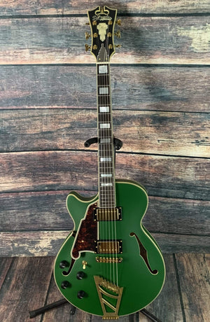 D'Angelico Electric Guitar D'Angelico Left Handed Deluxe SS Semi-Hollow Electric Guitar-Matte Emerald Green Stair Step Tail Piece