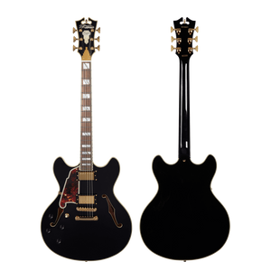 D'Angelico Electric Guitar D'Angelico Left Handed Excel DC Double Cutaway Semi-Hollow Electric Guitar- Black