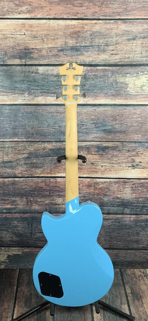 "D'Angelico Electric Guitar D'Angelico Premier Atlantic Brandon ""Taz"" Niederauer Solid Body Electric Guitar- Sonic Blue"