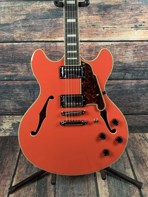 D'Angelico Electric Guitar D'Angelico Premier DC Semi-Hollow Electric Guitar- Fiesta Red Stop TailPiece