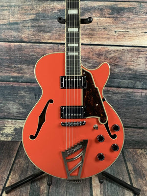 D'Angelico Electric Guitar D'Angelico Premier SS Semi-Hollow Electric Guitar- Fiesta Red Stair Step TailPiece