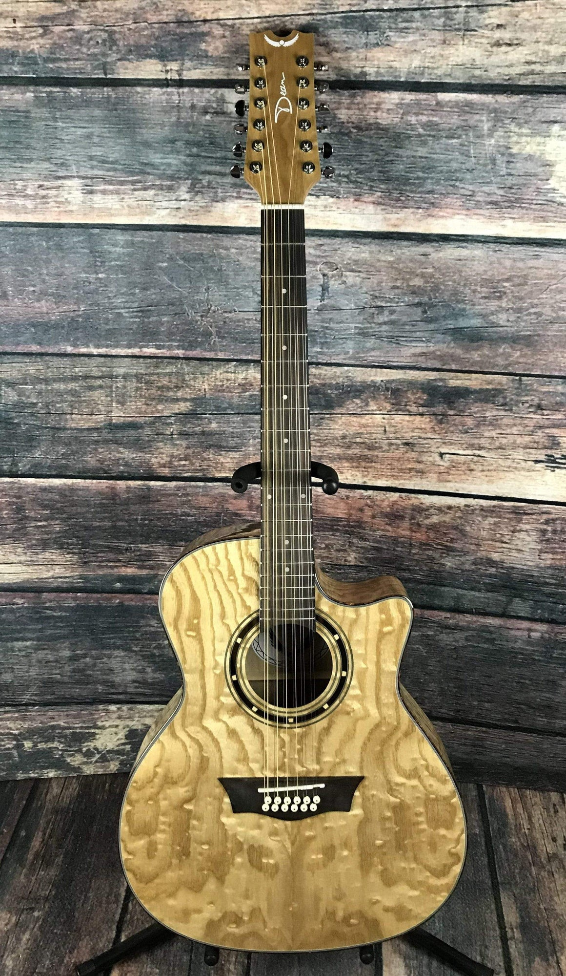 Dean Acoustic Guitar Dean EQA12-GN Exotica Quilted Ash 12 String Acoustic Electric Guitar- Gloss Natural