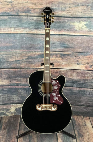 Epiphone Acoustic Guitar Used Epiphone 2018 EJ-200CE Acoustic Electric Guitar with Gig Bag- Black