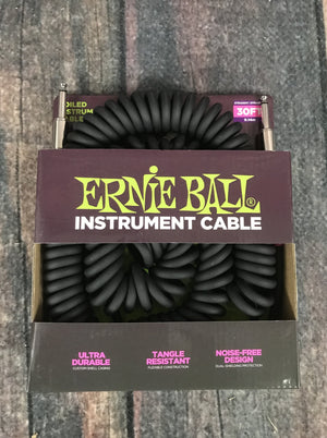 ernie ball Cable Ernie Ball P06044 30ft Coiled Straight/Straight Black Instrument Cable