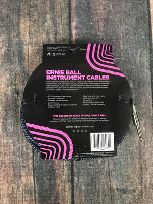ernie ball Cable Ernie Ball P06060 25' Braided Straight / Angle Instrument Cables Black / Blue