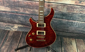 ESP/LTD Electric Guitar ESP Left Handed EIIMYSTQMNTSTBCLH E-II MYSTIQUE Quilted Maple Top Electric Guitar-See Thru Black Cherry