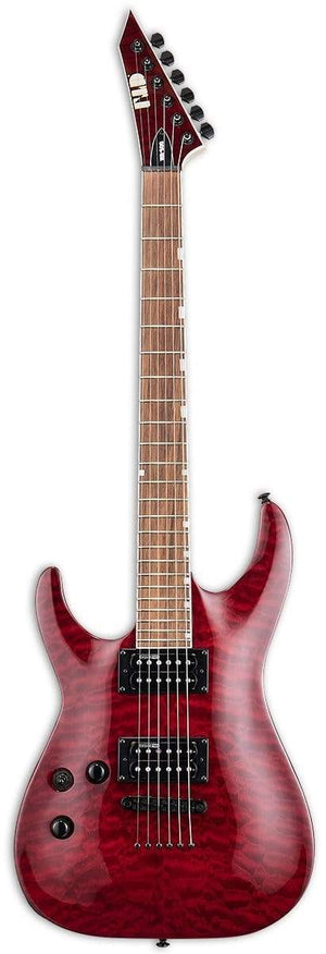 ESP/LTD Electric Guitar ESP/LTD Left Handed MH-200 QM NT Electric Guitar- See Thru Black Cherry