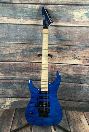 ESP/LTD Electric Guitar Used ESP/LTD Left Handed MH-203QM HSS Electric Guitar- See Thru Blue