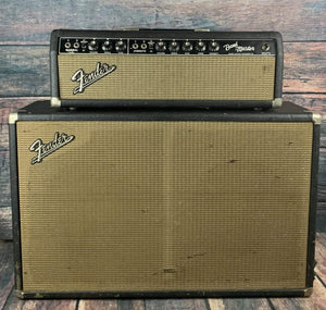 Fender Amp Used Fender Vintage circa 1964 1965 Bandmaster Blackface Tube Piggyback Head and 2 x 12 Cabinet
