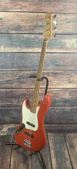Fender Electric Bass Used Fender 2019 Left Handed Player Jazz MIM 4 String Electric Bass with Gig Bag- Red