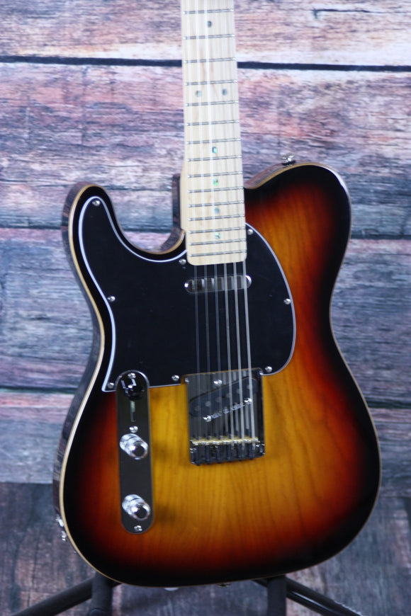 G&L Guitars Electric Guitar G&L Left handed ASAT Classic- 3 Tone Sunburst with Wood Binding