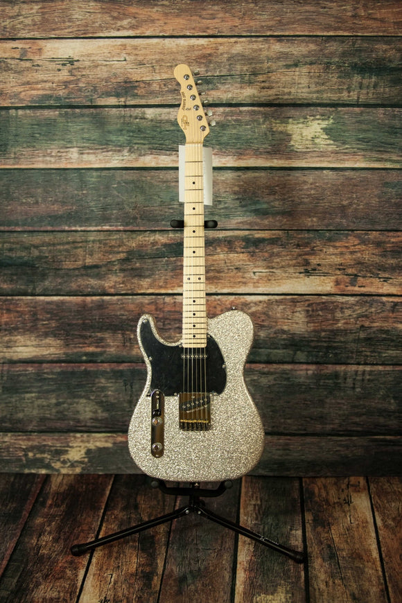 G&L Guitars Electric Guitar Includes hard shell case G&L Left Hand Asat Classic Silver Flake