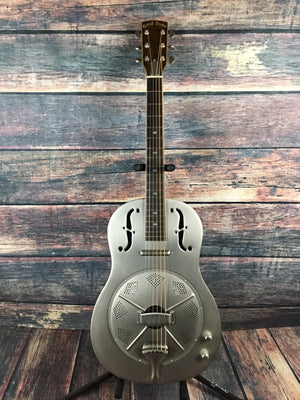 GoldTone Acoustic Electric Guitar Gold Tone Left Handed Paul Beard GRE Acoustic Electric Metal Body Resonator Guitar