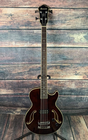 Ibanez Electric Bass Used Ibanez Artcore ABG140 Semi-Hollow 4 String Electric Bass with Ibanez Hard Case- Trans Brown