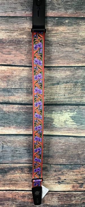 "Lock-it Straps Strap Lock-it Straps 2"" Wide Bob Masse Artist Series Strap- Purple Flowers"