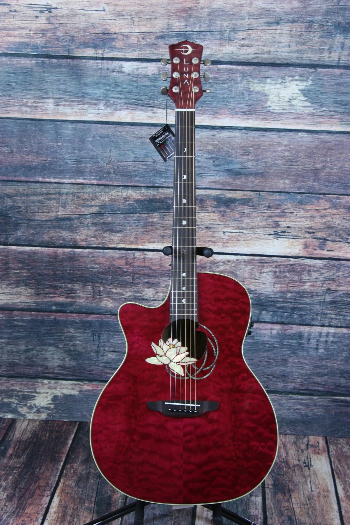Luna Acoustic Electric Guitar Guitar Only Luna Left Handed Flora Lotus Acoustic Electric Guitar