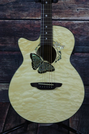 Luna Acoustic Electric Guitar Luna Left Handed Fauna Butterfly Acoustic Electric Guitar