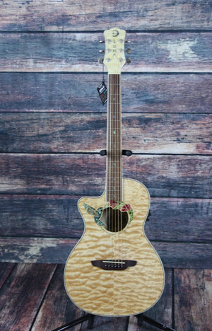 Luna Acoustic Electric Guitar Luna Left Handed Fauna Hummingbird Acoustic Electric Guitar