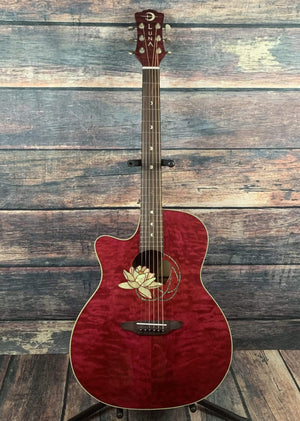 Luna Acoustic Electric Guitar Luna Left Handed Flora Lotus Acoustic Electric Guitar- B Stock