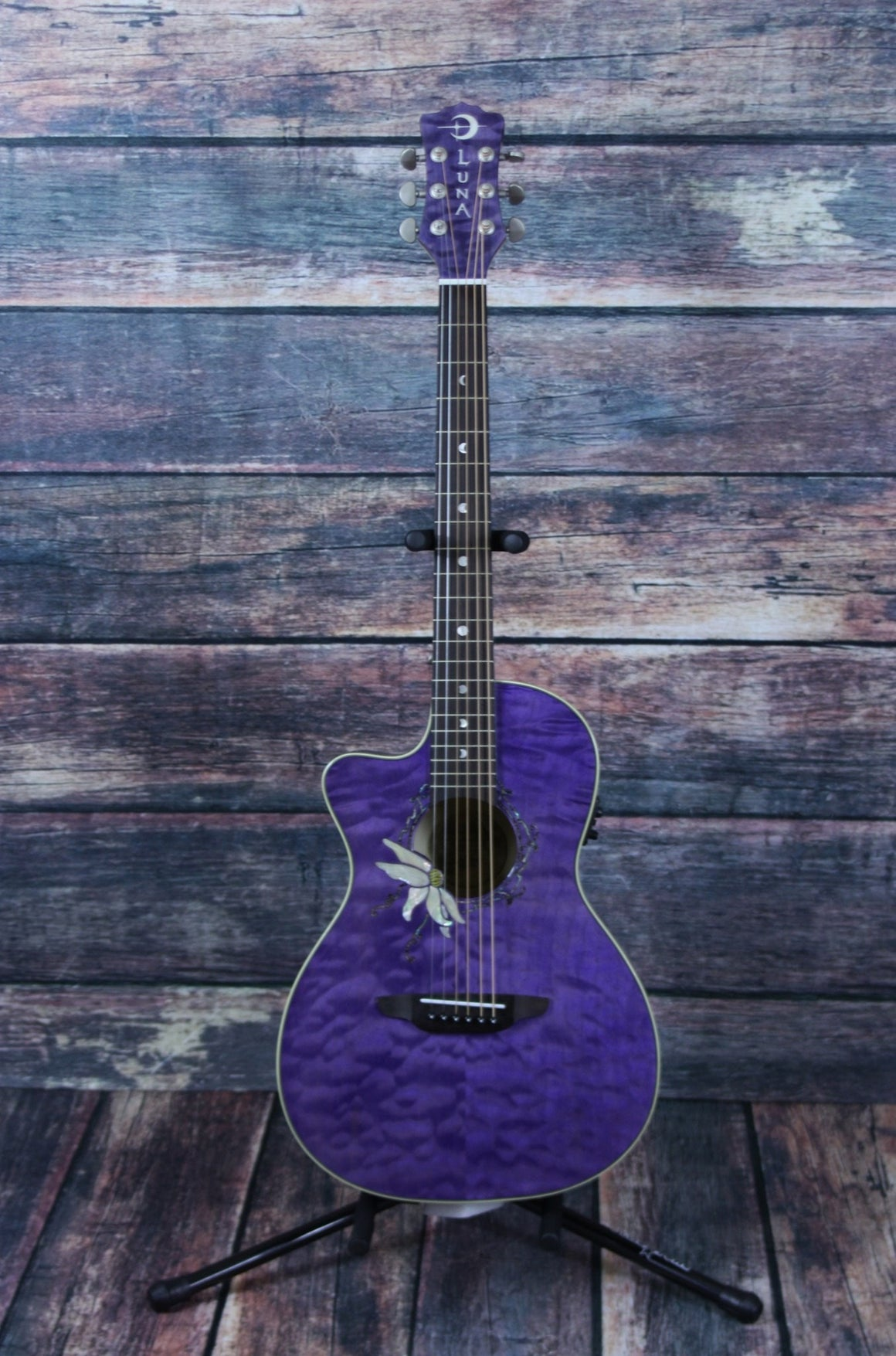 Luna Acoustic Electric Guitar Luna Left Handed Flora Passionflower Acoustic Electric guitar