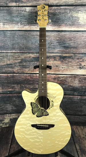 Luna Acoustic Guitar Luna Left Handed Fauna Butterfly Acoustic Electric Guitar- B Stock