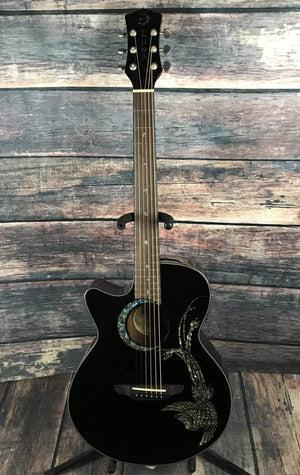 Luna Acoustic Guitar Luna Left Handed Fauna Phoenix Acoustic Electric Guitar