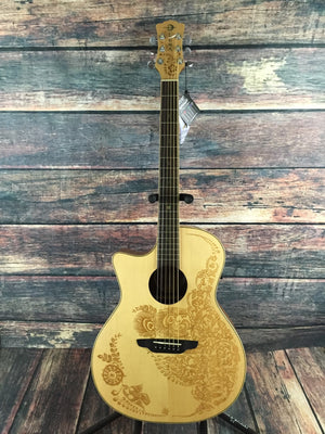 Luna Acoustic Guitar Luna Left Handed Henna Oasis Acoustic Electric Guitar