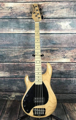 Musicman Electric Bass With Hard Shell Case Ernie Ball Music Man Left Handed Classic Stingray 5 Electric Bass- Natural