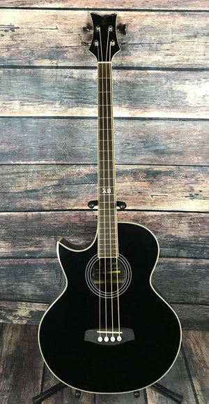 Ortega Acoustic Bass Ortega Left Handed D1-4LE-BLK Acoustic Electric Bass Guitar- Black