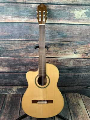 Ortega Classical Guitar Ortega Left Handed RCE138-L Slim Neck Acoustic Electric Cutaway Classical Guitar- B- Stock