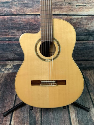 Ortega Left Handed RCE138-L Slim Neck Acoustic Electric Cutaway Classical Guitar- B- Stock