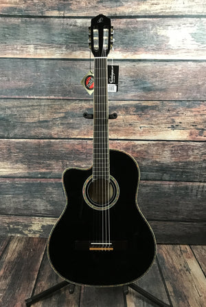 Ortega Classical Guitar Ortega Left Handed RCE145 Thinline Acoustic Electric Classical Guitar